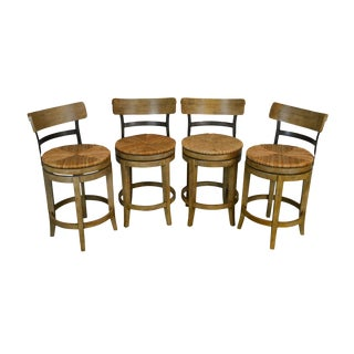 1990s Ballard Design French Country Style Rush Seat Swivel Barstools - Set of 4 For Sale
