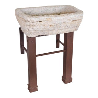 Antique Spanish Stone Basin on Antique Iron Base Sink Composition For Sale