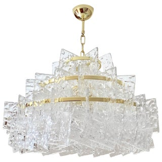 Contemporary Italian Crystal Clear Murano Glass Round Brass Chandelier For Sale