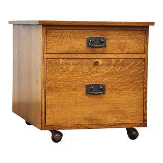 Stickley Oak Mission Collection Rolling File Cabinet For Sale