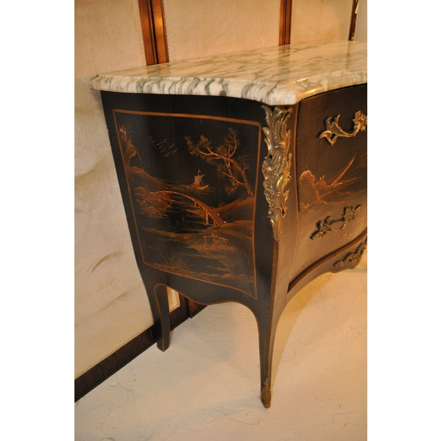 French Louis XV Style Bombe Form Two Drawer Chest With Chinoiserie Decorations and White Marble Top For Sale - Image 11 of 13