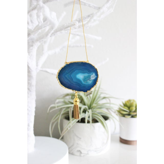Modern Boho Teal Agate Holiday Ornament - Image 5 of 5
