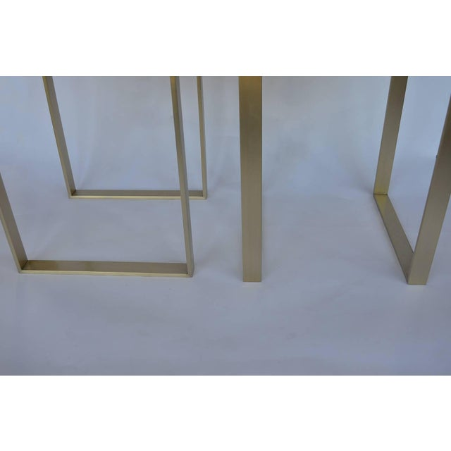 1980s 1980s Vintage Brushed Brass Stools- a Pair For Sale - Image 5 of 7