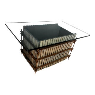 Brutalist Style Wine Press Rust Coffee Table