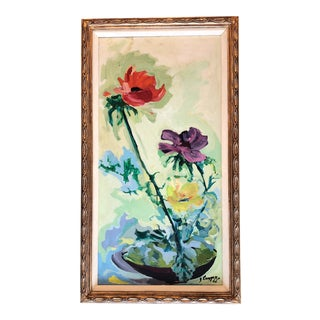 Large Original Floral Vintage Still Life Painting 1966 For Sale