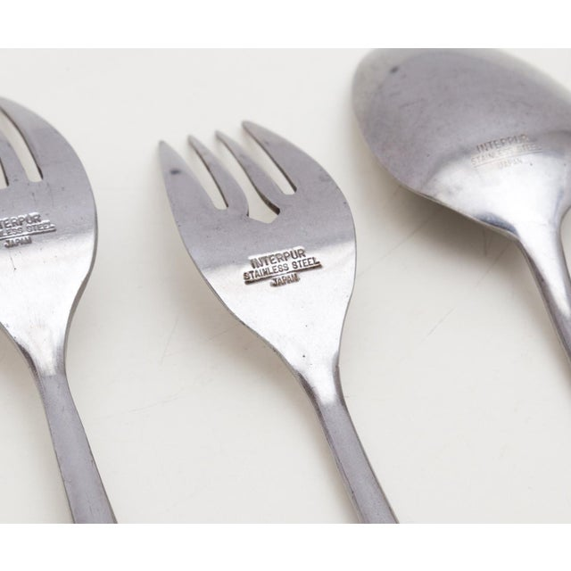 Midcentury Modern Interpur Stainless Flatware Set 6 Place Settings, 32 Pieces For Sale In Richmond - Image 6 of 7