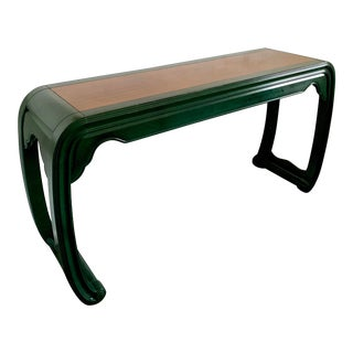 1970s Chinoiserie Henredon Faux Green Marble Console Table For Sale