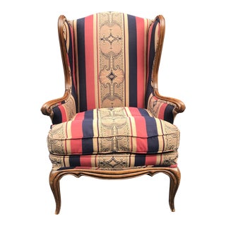 Antique Walnut French Provincial Wingback Chair For Sale