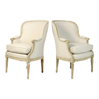 19th Century French Bergere Chairs - A Pair