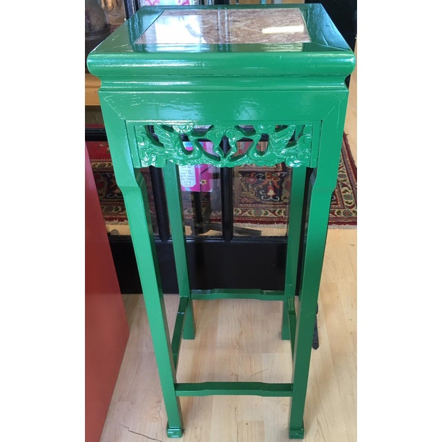 Vintage Asian Rosewood Stand in Kelly Green With Italian Marble Inlay For Sale - Image 4 of 4