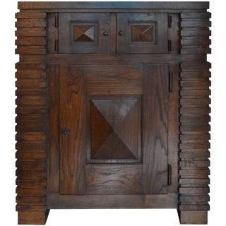 Henry Jacques Le Même Cubic Cabinet, Fumed Oak, Circa 1930 For Sale