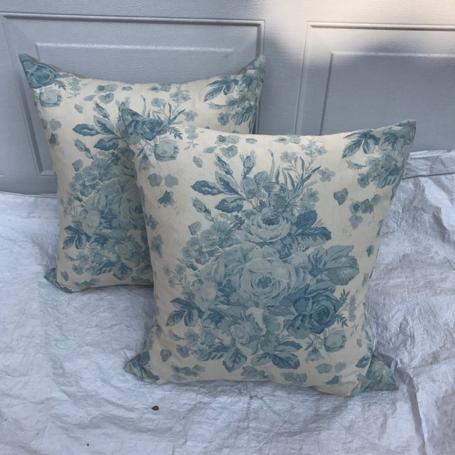 """English Ralph Lauren """"Faded Bouquet"""" Blue & White Floral Pillows~Pair For Sale - Image 3 of 11"""
