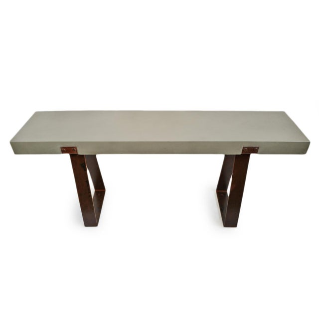 Outdoor Cement & Iron Console For Sale - Image 4 of 9