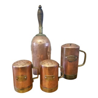 1960s Country Copper & Brass Kitchenware - Set of 4