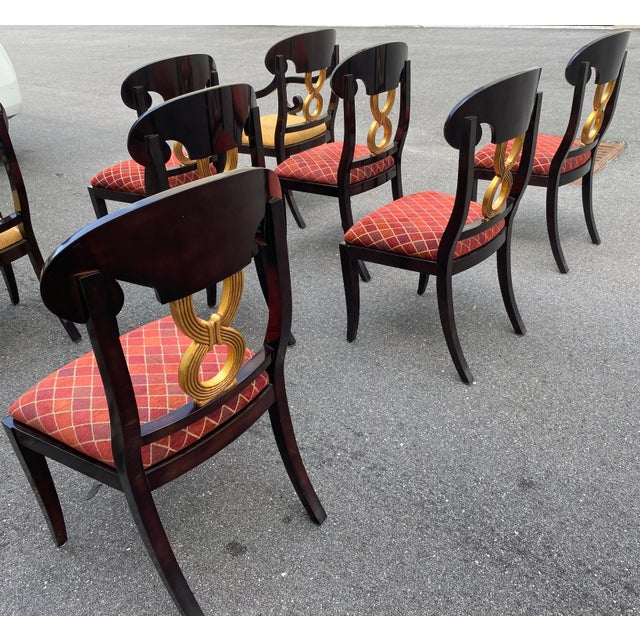 Beautiful set of eight (8) high gloss dining chairs curved backs gold leaf diamond upholstery. Chairs are stained...