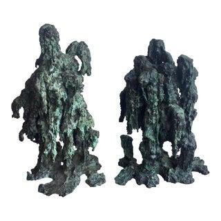 20th Century Abstract Robert Bery Drip Bronze Sculptures - a Pair