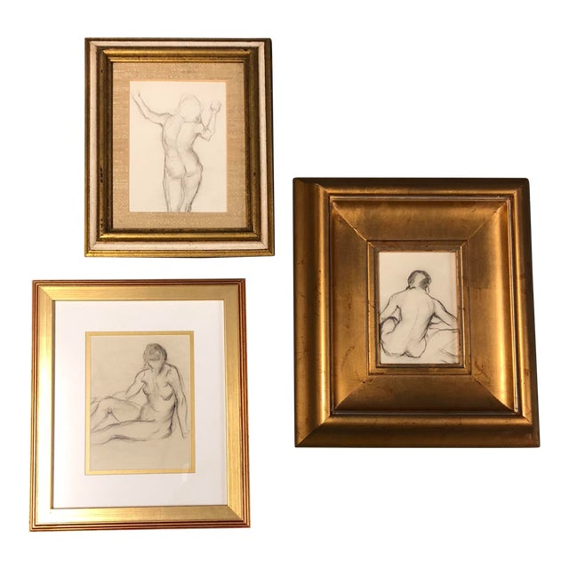Gallery Wall Collection 3 Original Female Nude Charcoal Studies For Sale