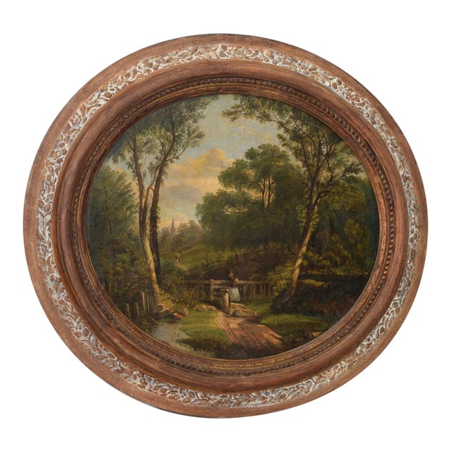Country Gorgeous 18th to 19th C. Country Landscape W/ Figures & a Steeple For Sale - Image 3 of 3