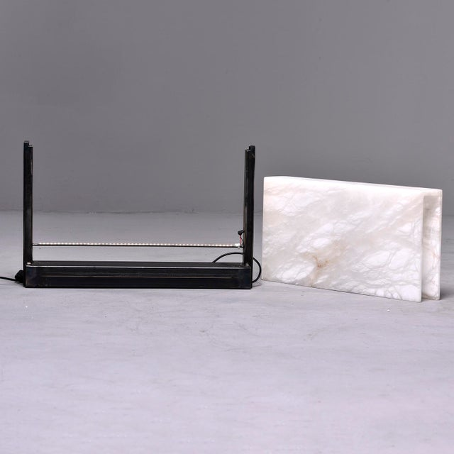 Hand Carved Italian Alabaster Rectangular Led Table Lamp For Sale - Image 4 of 13