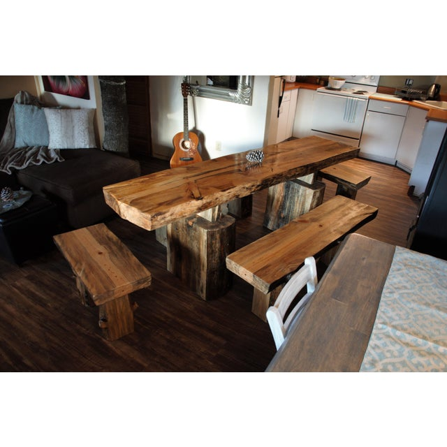 Single Tree Slab Dining Table Benches Chairish
