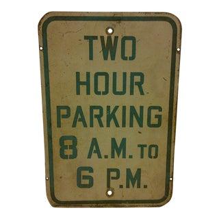 Vintage Porcelain Parking Sign For Sale