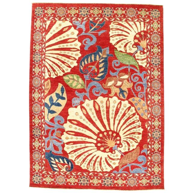 "2010s Pasargad N Y Genuine Suzani Design Wool Rug - 8'1"" X 11'3"" For Sale - Image 5 of 5"