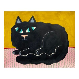 Contemporary Painting, Fluffy Black Cat For Sale
