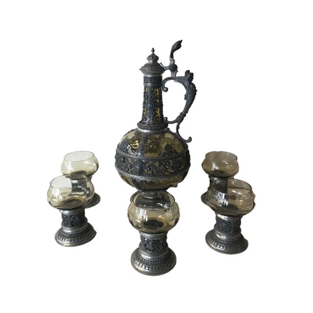 1920s Italian Wine Decanter & Glasses - Set of 6 For Sale - Image 13 of 13