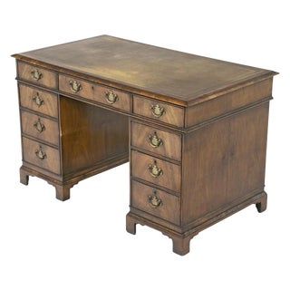 19th Century English Queen Anne Style Pedestal Desk For Sale