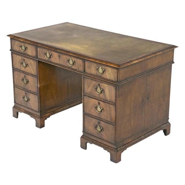 19th Century English Queen Anne Style Pedestal Desk For Sale