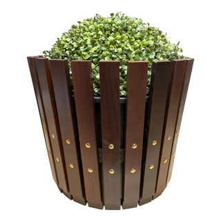 Customizable Plantum Stained American Hardwood Modular Planter Cover with Brass Rivets For Sale