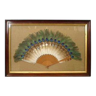 English Victorian Peacock-Feather Fan Wall Plaque