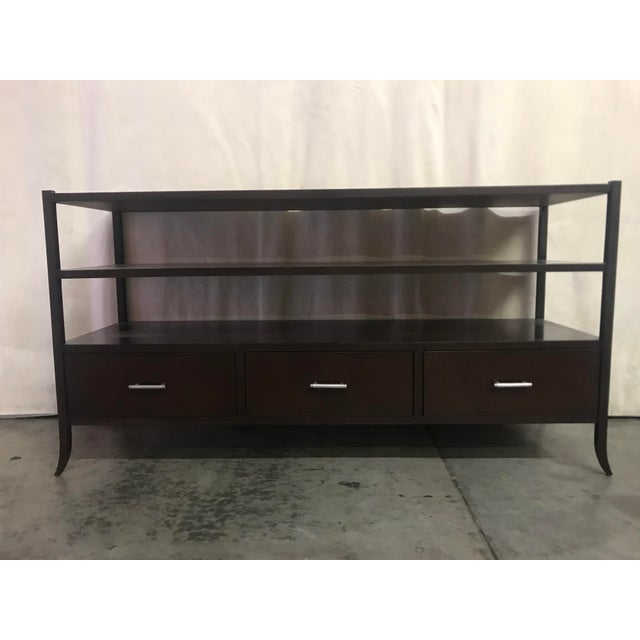 Espresso Stained Three Drawer Console For Sale - Image 9 of 9