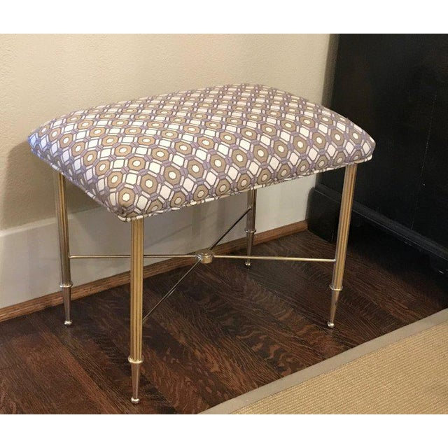 French Upholstered Brass With Reeded Legs Bench / Stool For Sale - Image 12 of 13
