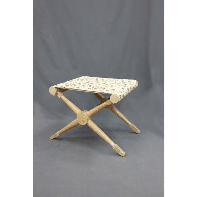 Late 20th Century Indigo and Red Flower Linen Camp Stool For Sale - Image 4 of 6