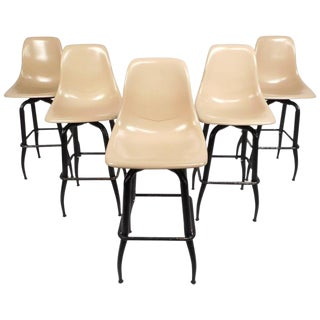 Mid-Century Modern Plastic & Iron Swivel Bar Stools - Set of 5
