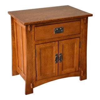Crafters and Weavers Mission Style Solid Oak Nightstand - Michael's Cherry Stain For Sale