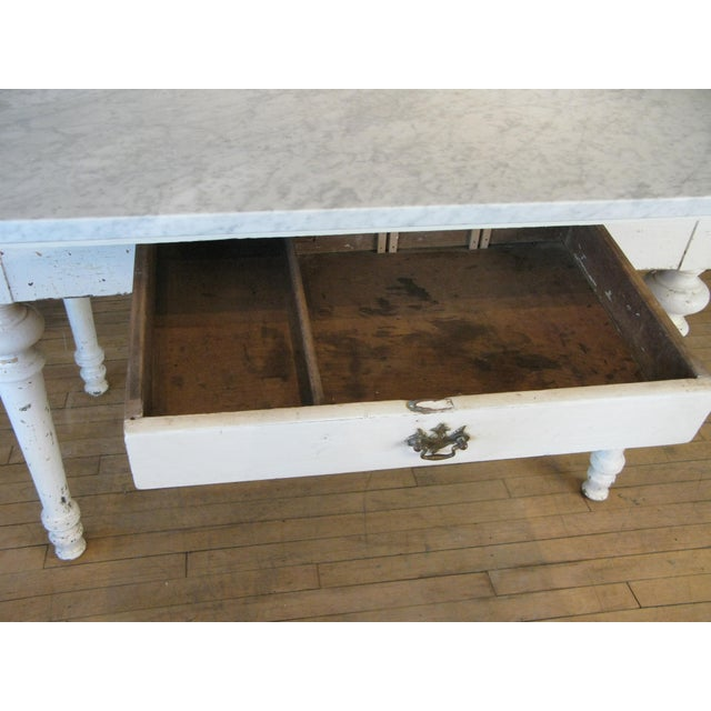 Antique 19th Century Refectory Table With Venatino Marble Top For Sale In New York - Image 6 of 9