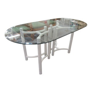 Oval Bamboo Pedestal Dining Table For Sale