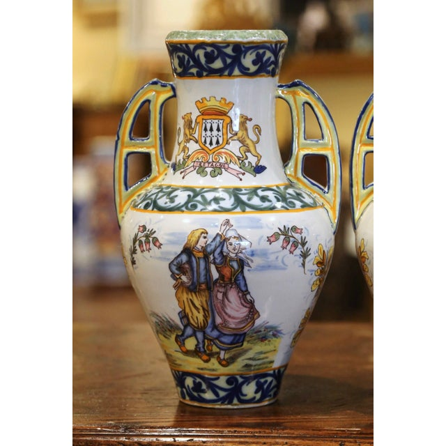 19th Century French Hand Painted Faience Vases Signed Hr Quimper - a Pair For Sale - Image 4 of 11