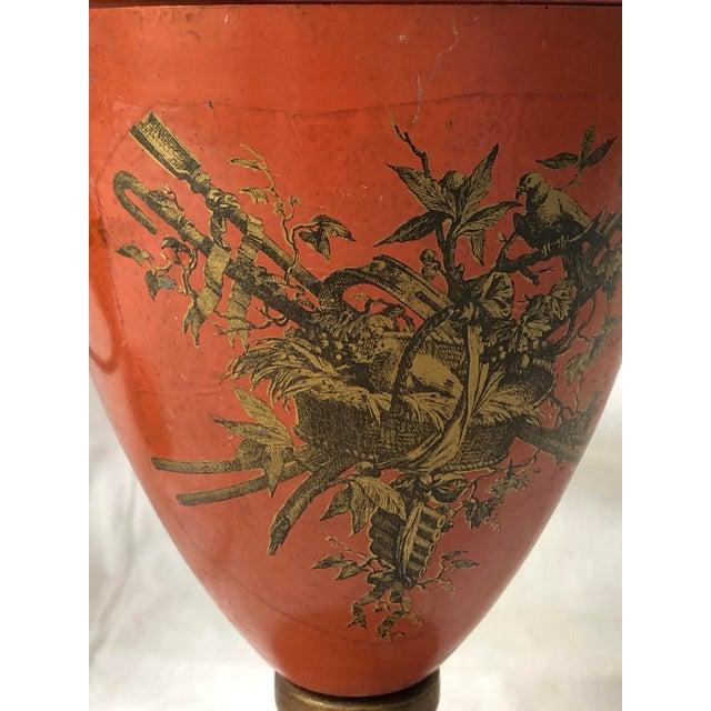 Italian Vintage, C.1950 Red Tole Lidded Urns, A-Set For Sale - Image 11 of 13