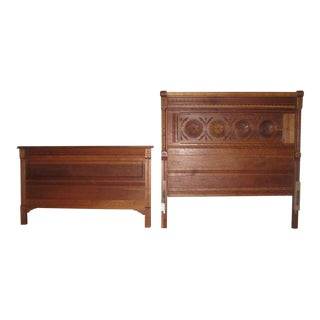 Solid Cherry Carved Eastlake Headboard & Footboard