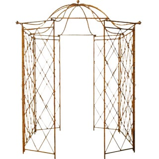 Gilt Metal Faux Bamboo Gazebo For Sale