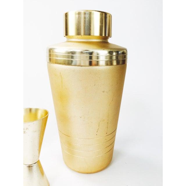Vintage Mirro Mid-Century Matte Gold Cocktail Set - Set of 3 - Image 4 of 6