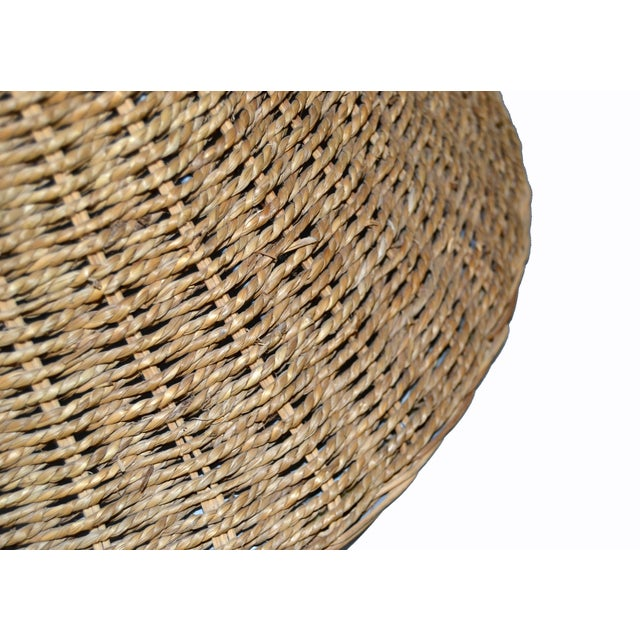 Fabric Mid-Century Modern Round Hand-Woven Rattan, Wicker White Lined Fabric Lamp Shade For Sale - Image 7 of 11