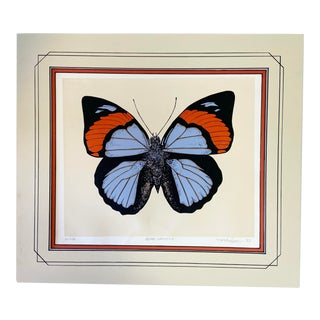 Vintage Original Butterfly Screen Print With Mat For Sale