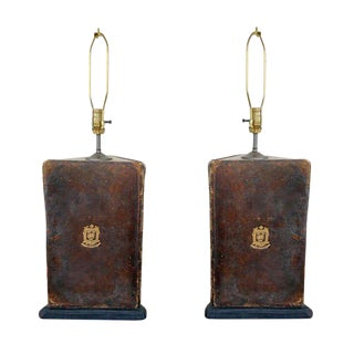 Pair of Oxford University Leather Bookboard Lamps