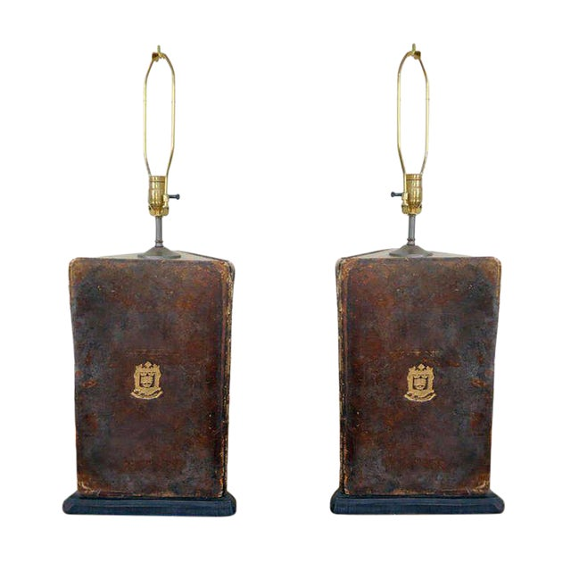 Pair of Oxford University Leather Bookboard Lamps For Sale
