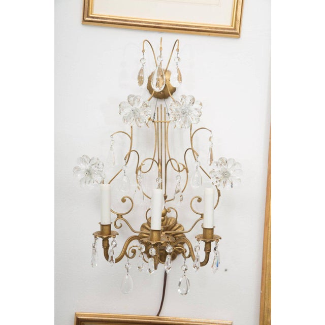 Gold Pair of Italian Gilt Metal and Crystal Electrified Sconces For Sale - Image 8 of 9