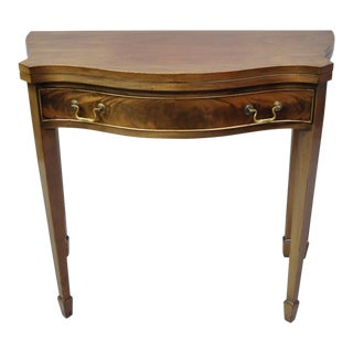 20th Century Neoclassical Mahogany Demilune Flip Top Console For Sale